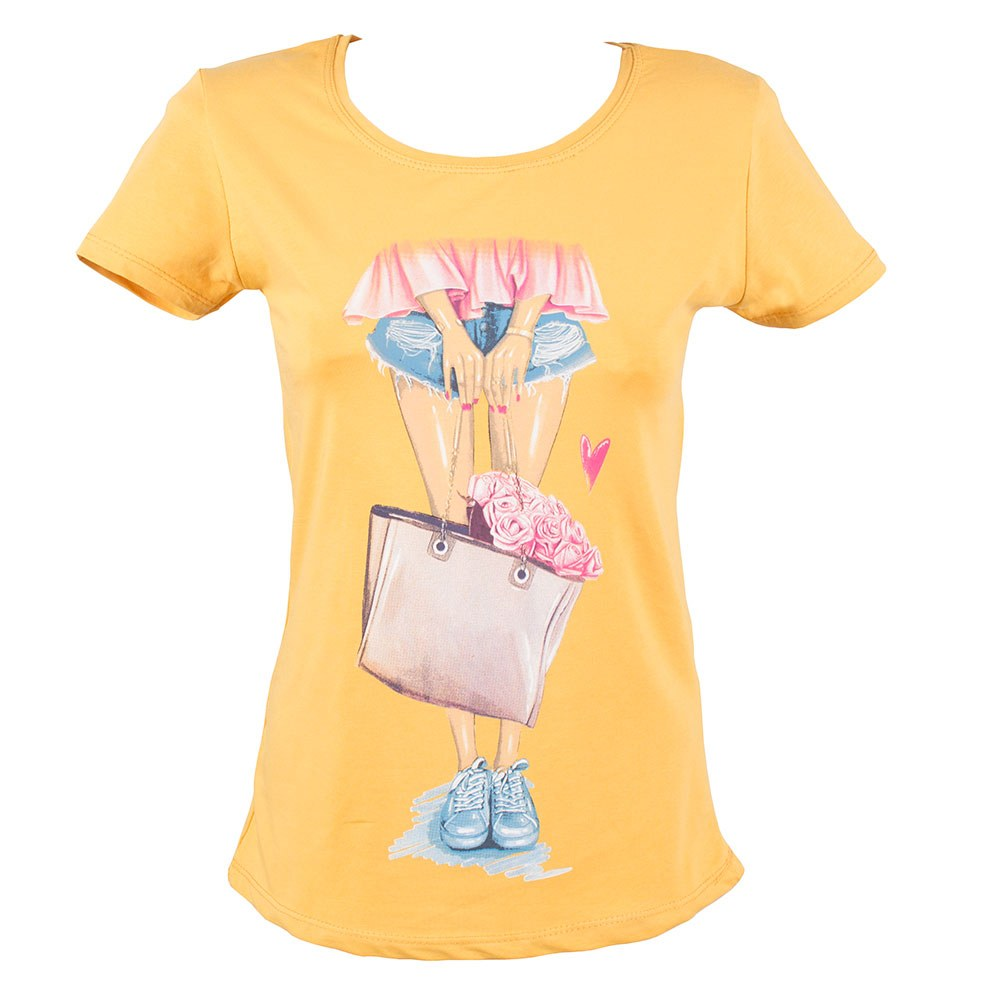Tricou de dama galben cu imprimeu TR-135-G