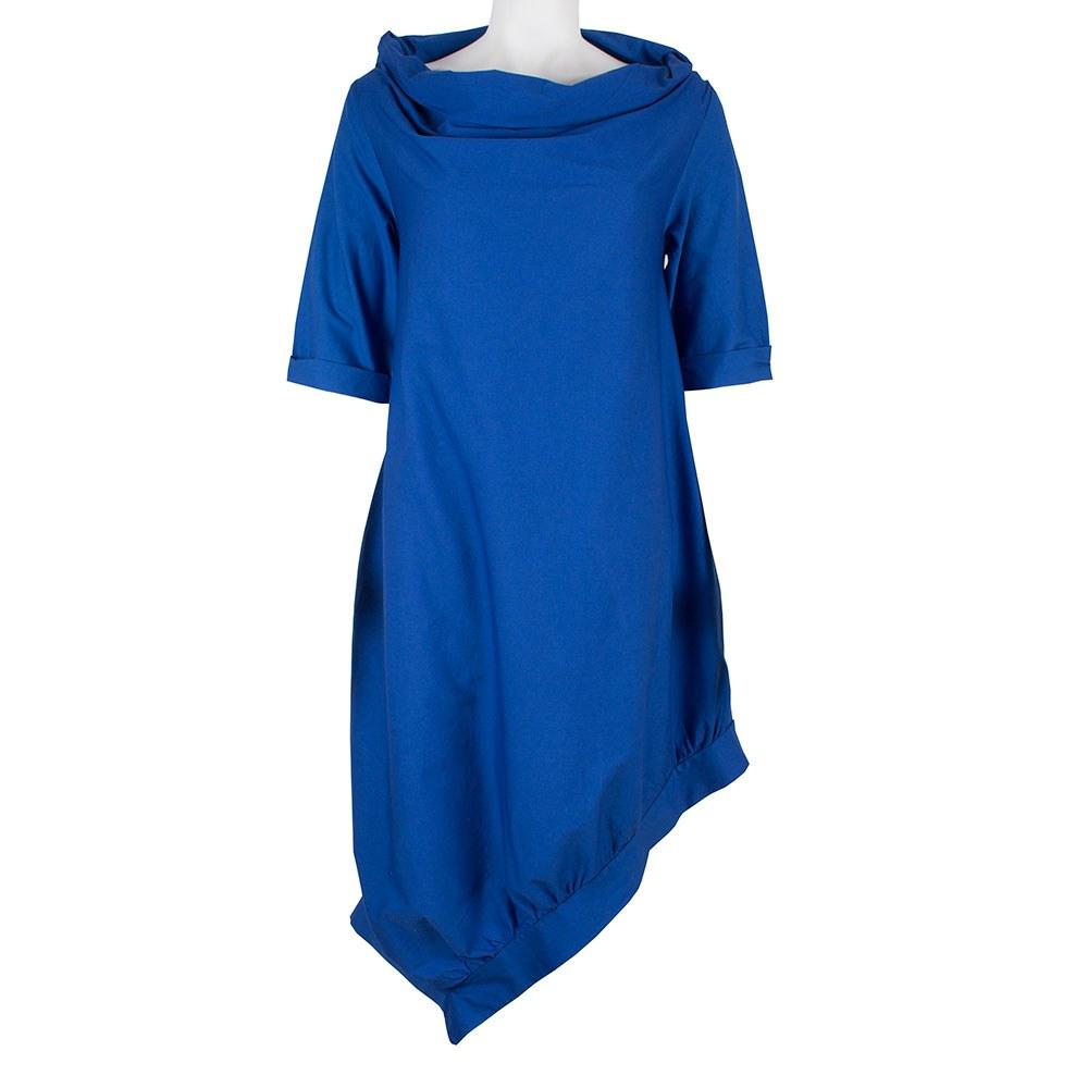 Rochie dama asimetrica oversize albastra 741-05-A