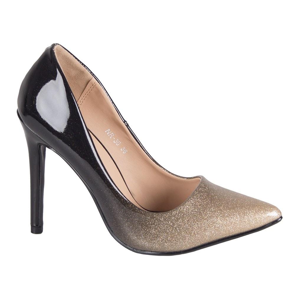 Pantofi dama aurii cu toc NR-36-G
