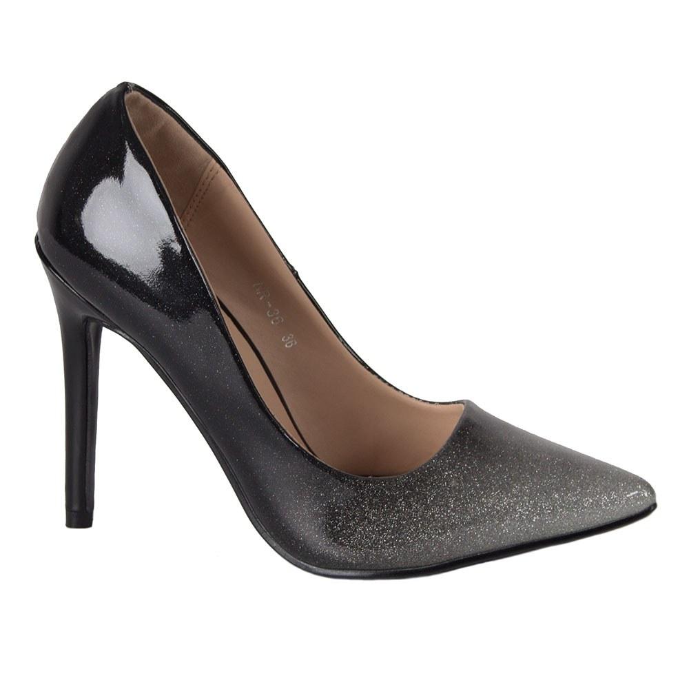 Pantofi dama argintii aspect degrade NR-36-S