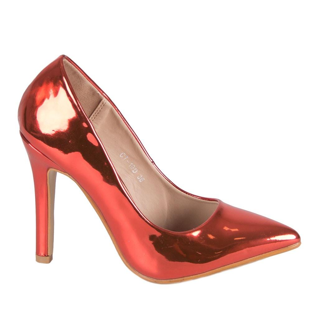 Pantofi dama rosii cu toc inalt CT-19D
