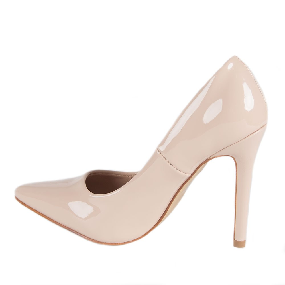 Pantofi dama bej lacuiti cu toc inalt NR-45-B