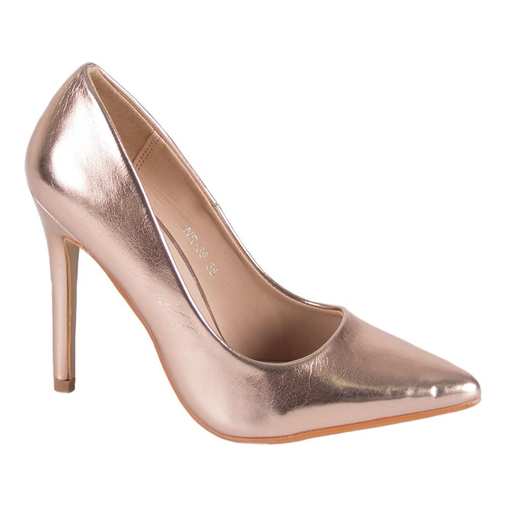 Pantofi dama aspect metalizat cu toc inalt NR-39-C
