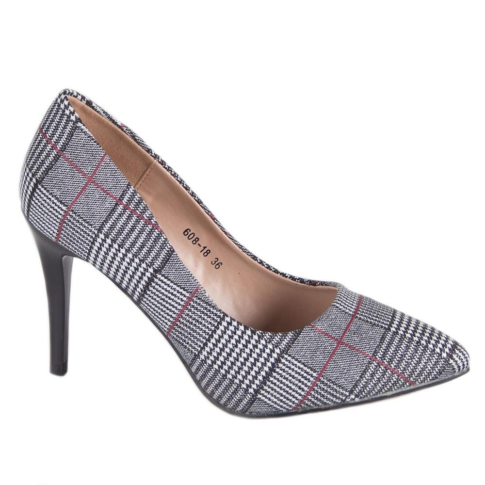 Pantofi de dama gri cu toc 608-18-D.G
