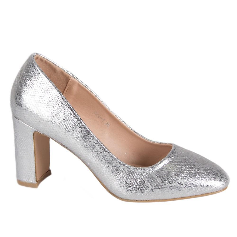 Pantofi dama argintii cu toc gros 924-1-S