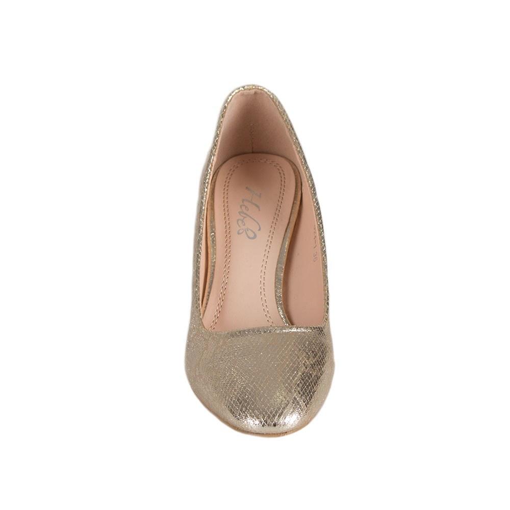 Pantofi dama aurii cu toc gros 924-1-G