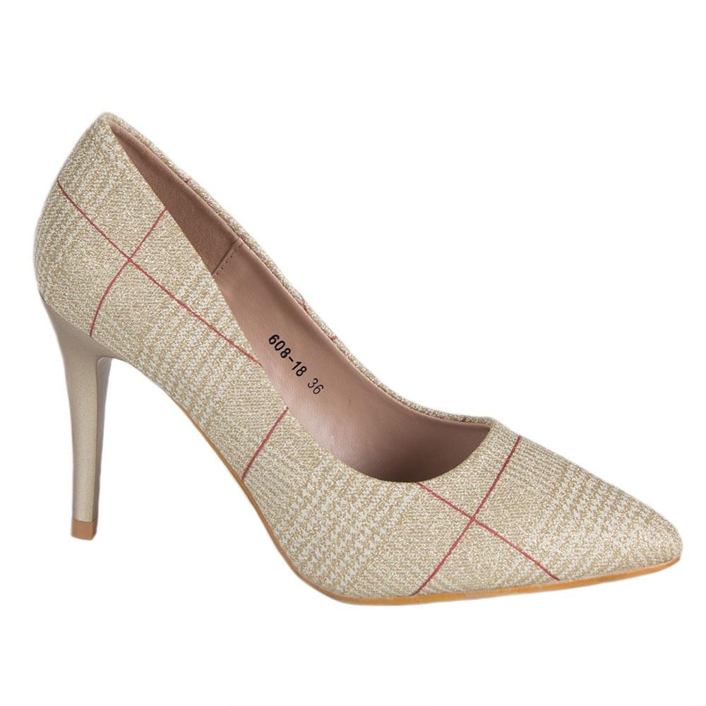 Pantofi de dama aurii cu toc 608-18-L.G