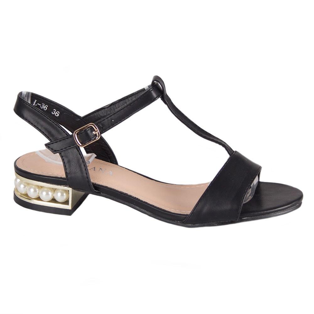 Sandale dama negre cu toc mic accesorizat L-36-N