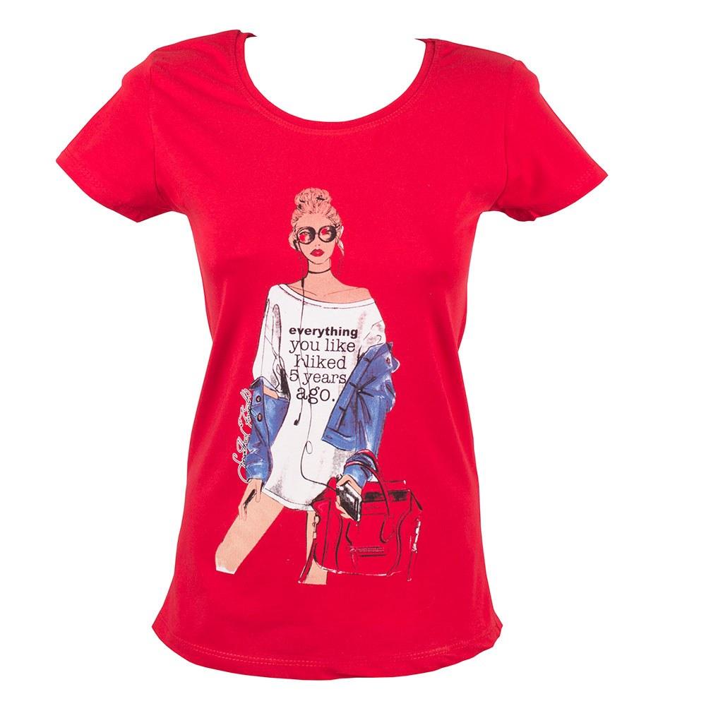 Tricou de dama rosu imprimat TR-136-R