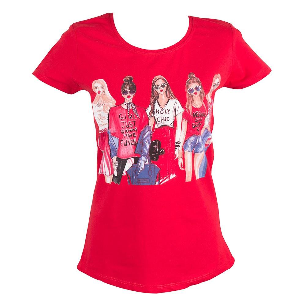 Tricou dama rosu cu imprimeu TR-322-R