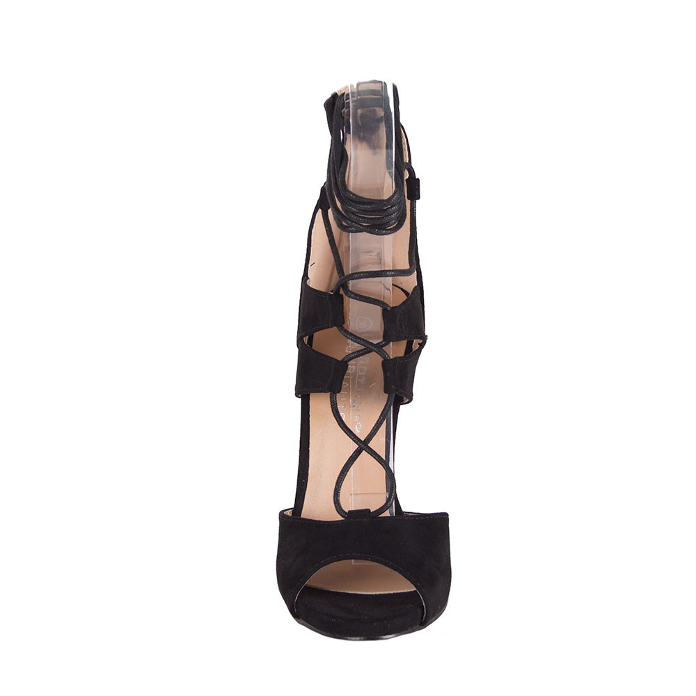 Sandale dama negre cu siret pe glezna LBS2689-N