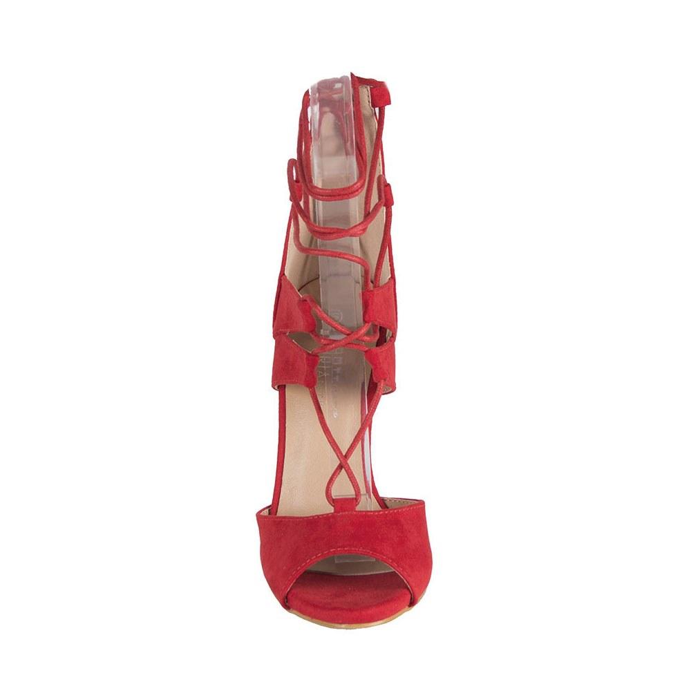 Sandale dama rosii cu siret si toc inalt LBS2689-R