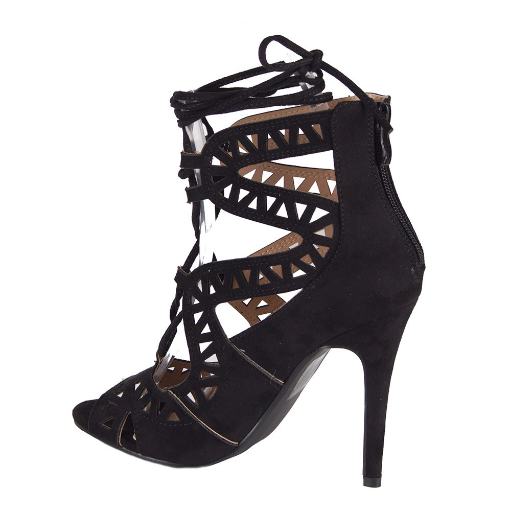 Sandale dama negre cu siret si toc inalt LBS2738-N