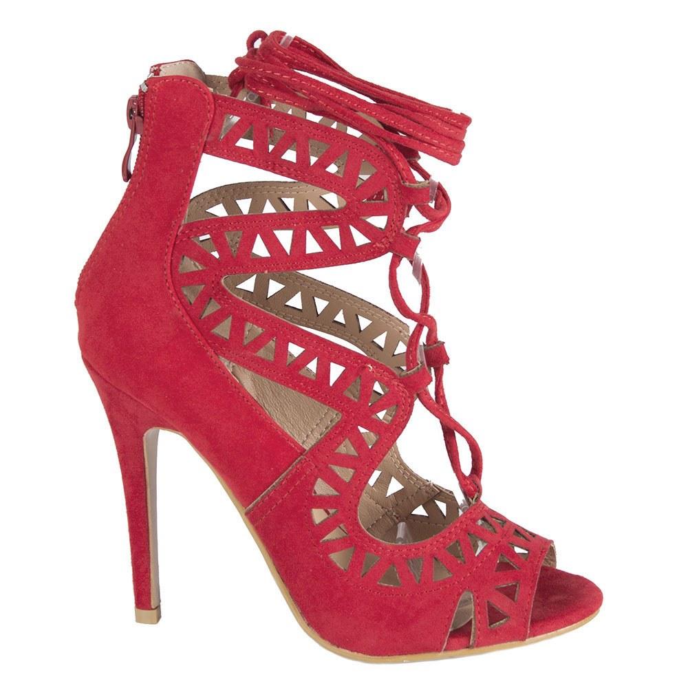 Sandale dama rosii cu siret si model decupat LBS2738-R