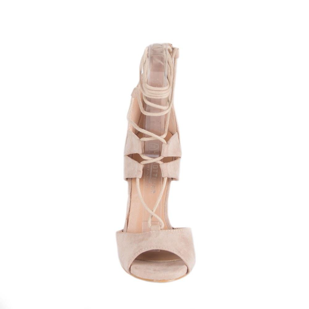 Sandale dama cu siret si toc inalt LBS2689-LT.K