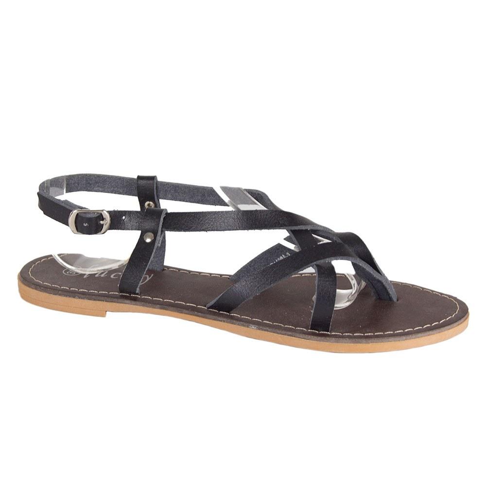 Sandale de dama negre cu barete si talpa joasa PD1126A-N