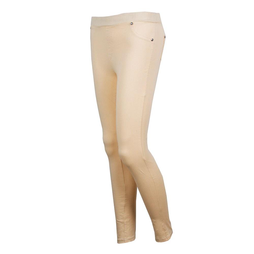 Pantaloni dama elastici crem S-2205-C