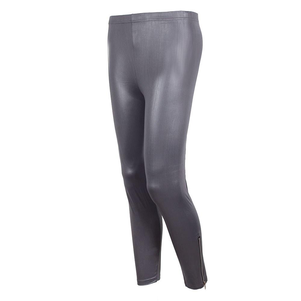 Pantaloni dama gri tip colanti aspect lucios S-2207-G