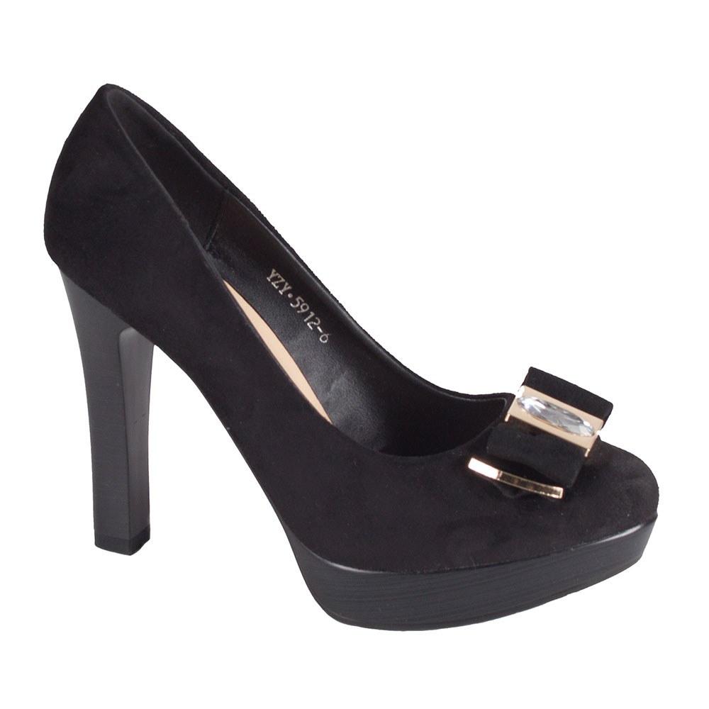 Pantofi de dama negri cu platforma si toc inalt 5912-6