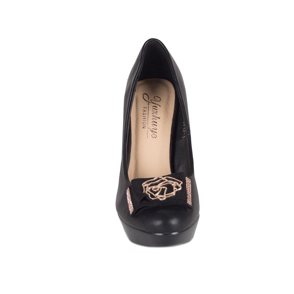 Pantofi dama negri cu platforma si accesoriu auriu 5912-3
