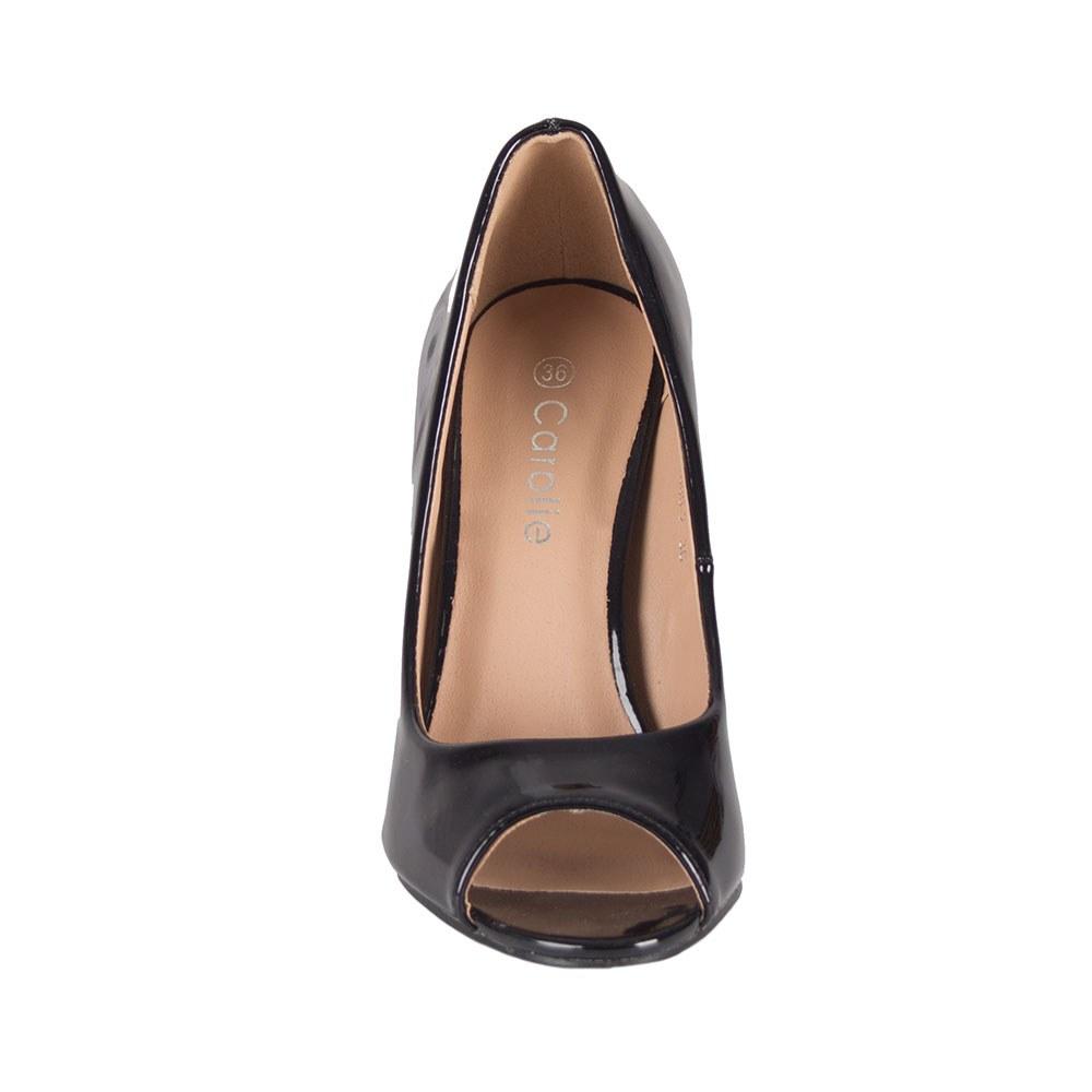 Pantofi dama negri lacuiti cu varful decupat LT600-2-N
