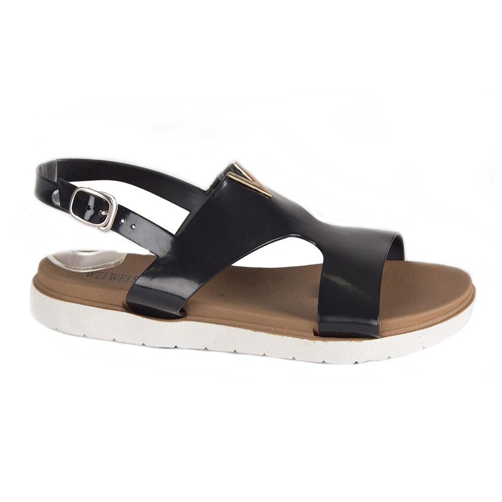 Sandale de dama negre din cauciuc HTD-328-N