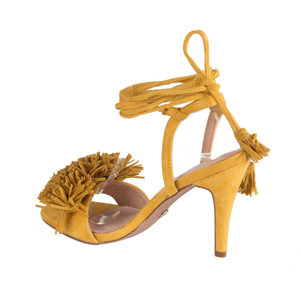 Sandale dama galbene cu snur si toc MP01-G