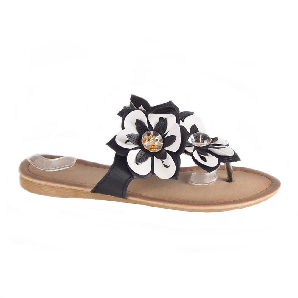 Papuci dama cu accesoriu floare si pietre DML-322A-N