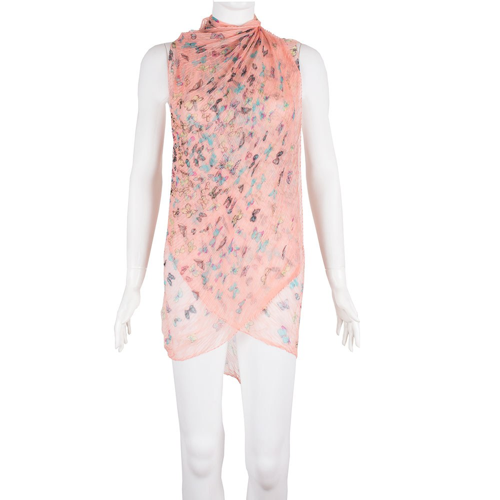 Pareo plaja roz cu imprimeu D-8756-3