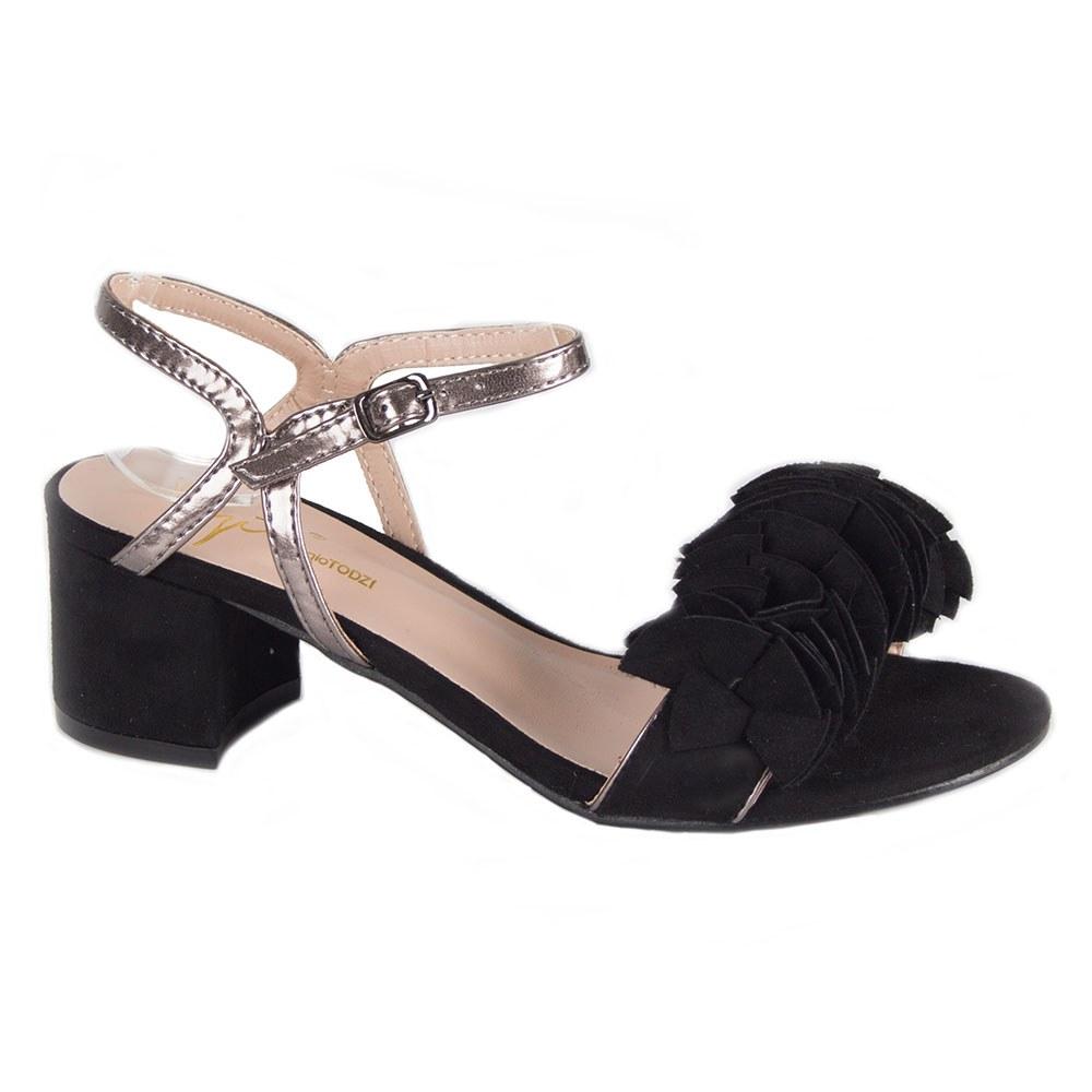 Sandale dama negre cu barete si toc gros ZU004-N
