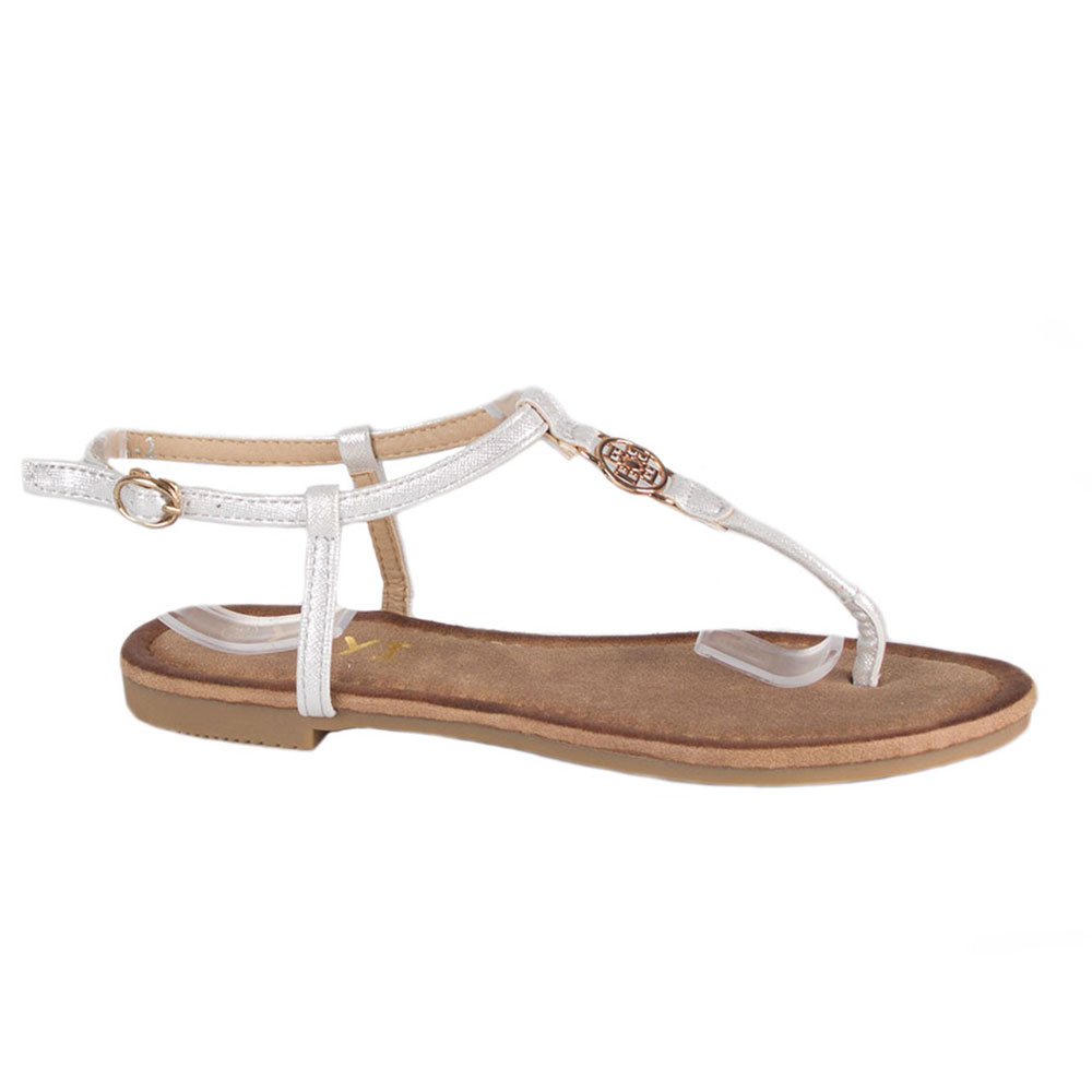 Sandale dama argintii cu talpa joasa K-2-S