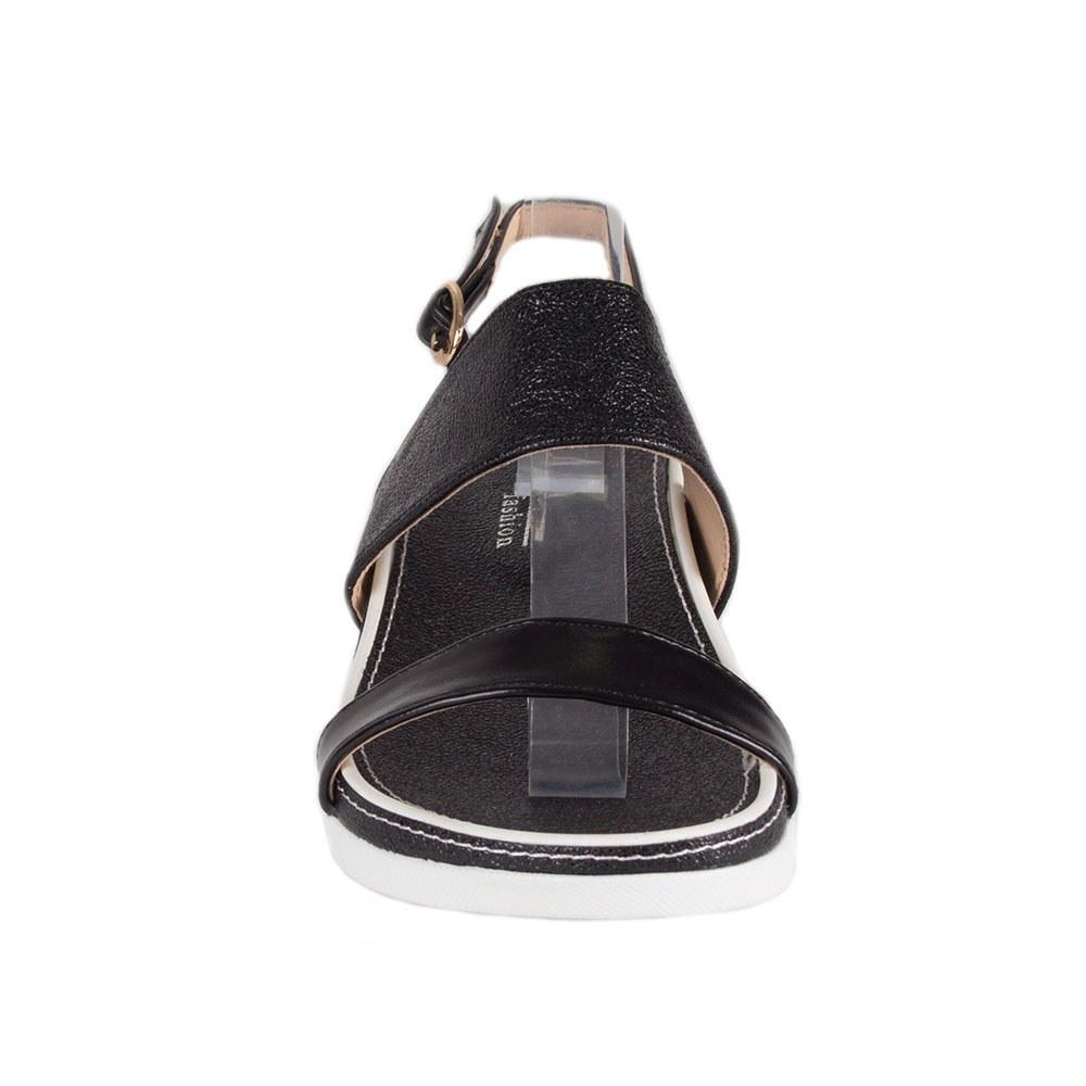 Sandale dama negre cu talpa joasa 069-9-N