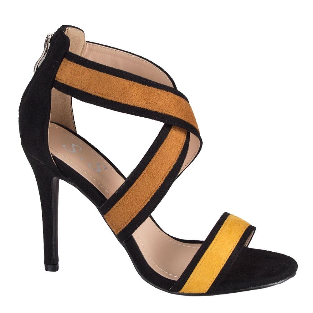 Sandale dama cu toc si barete incrucisate A638-2-Y