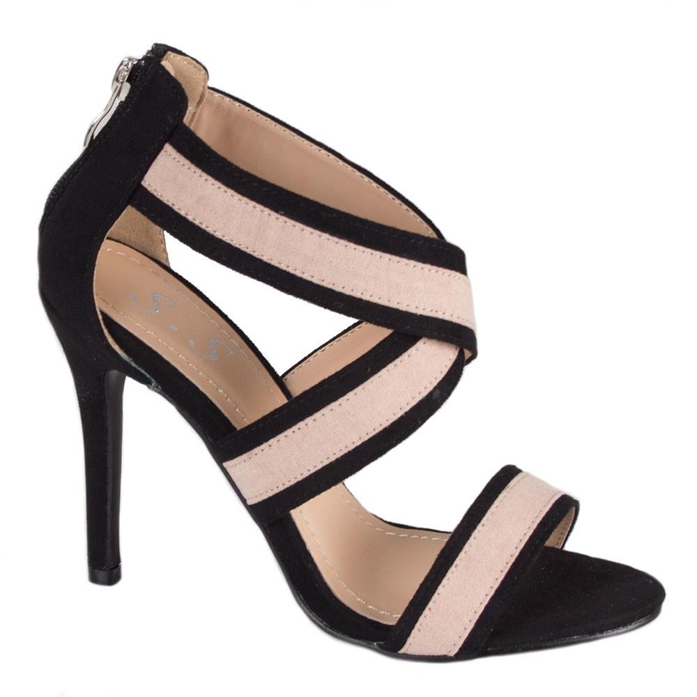 Sandale dama cu toc si barete incrucisate A638-5-B