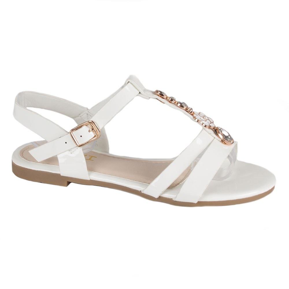 Sandale dama albe cu accesoriu auriu K-106-A