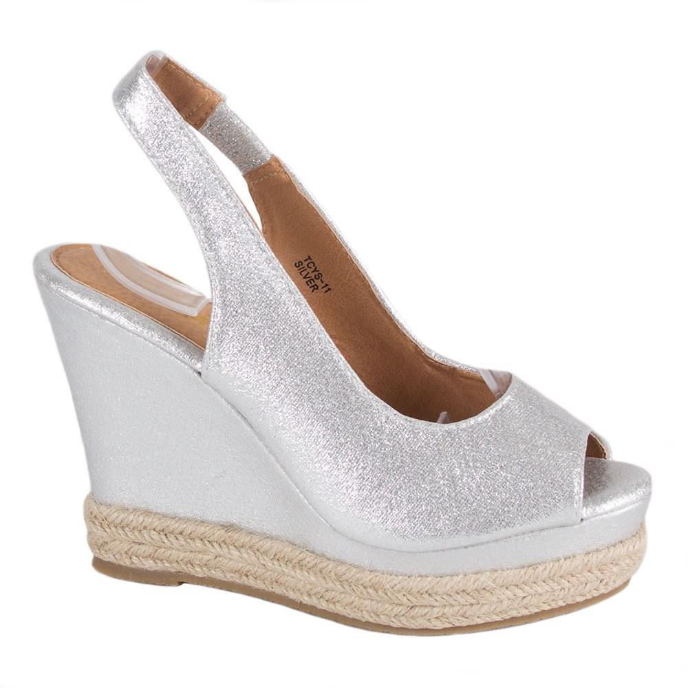 Sandale dama argintii cu platforma TCYS-11-S