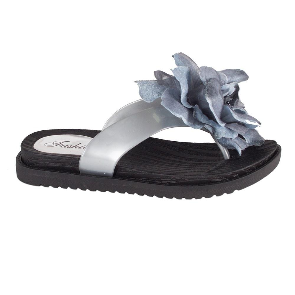 Papuci dama gri flip-flop accesorizati 3388-G