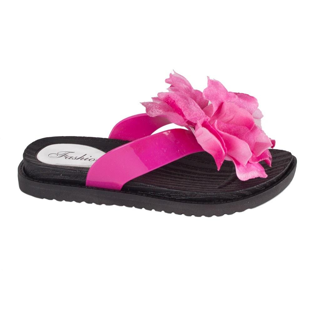 Papuci dama flip-flop decorati cu floare 3388-F