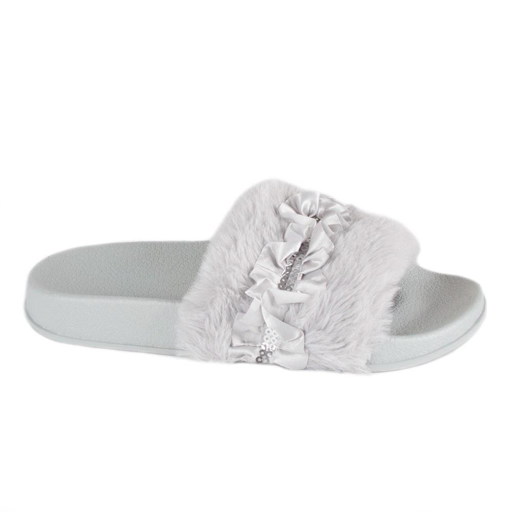 Papuci dama gri cu blana si paiete 1286-1-G