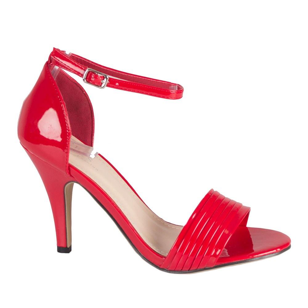 Sandale dama rosii cu toc 82486-R-PT