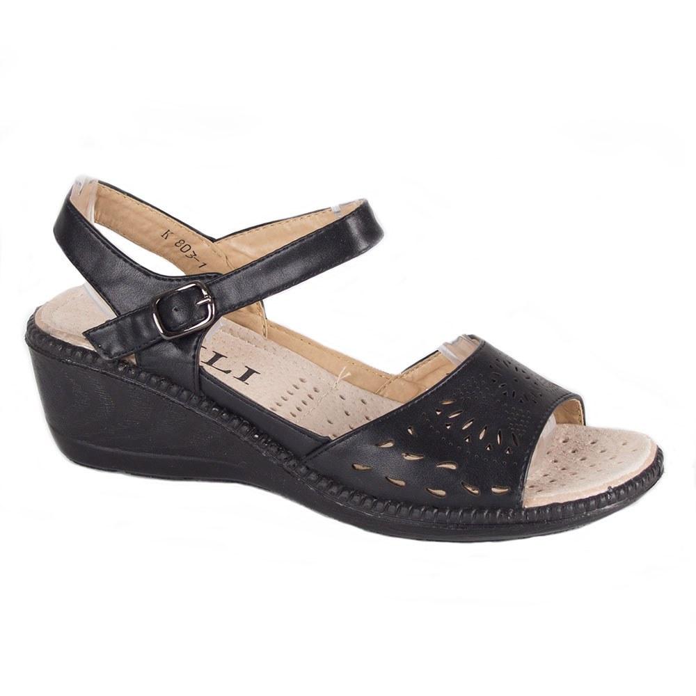 Sandale de dama negre cu talpa comoda K803-1-N