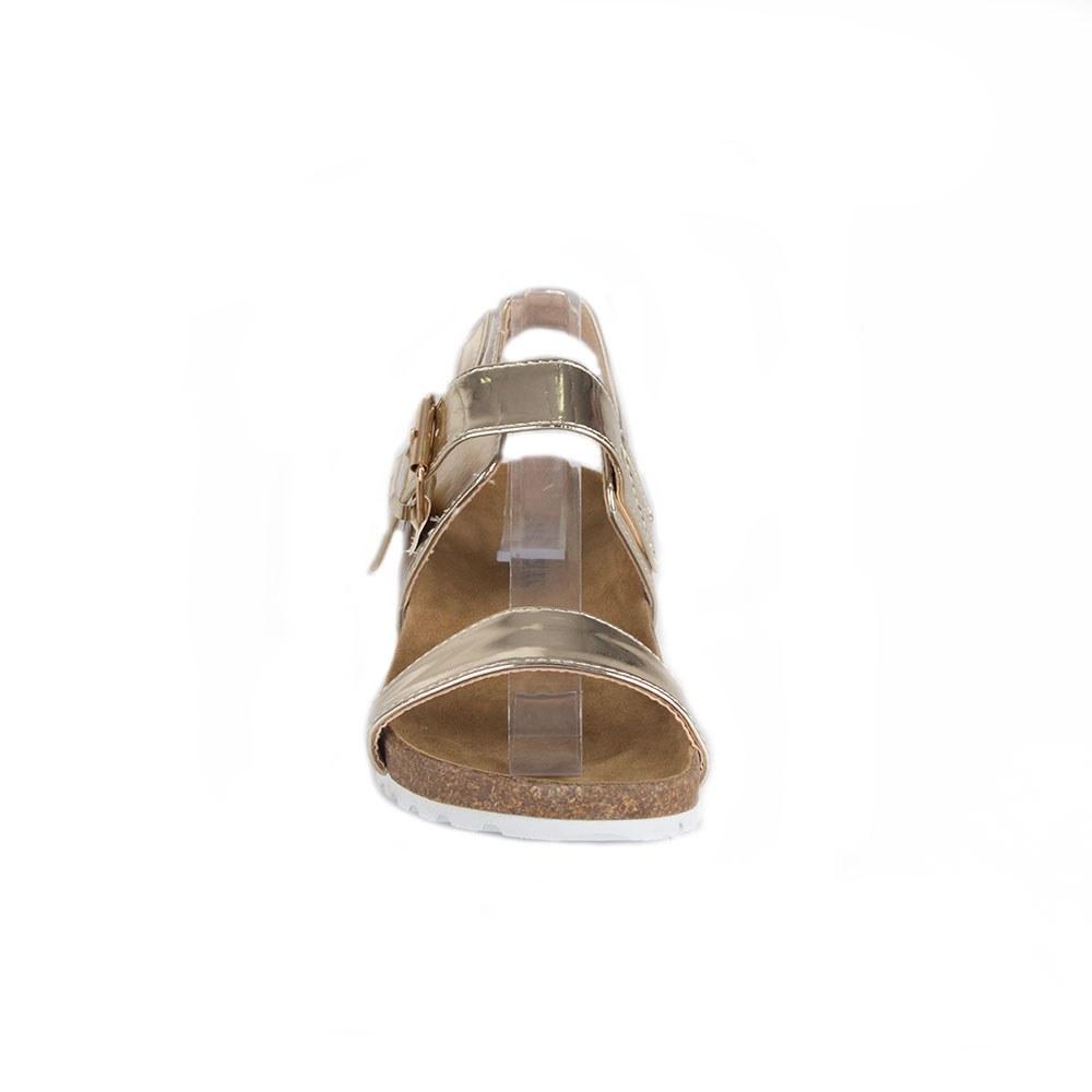 Sandale de dama aurii cu talpa joasa 83128-G-MT