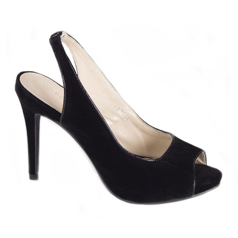 Sandale dama negre cu toc 82514-N-SS