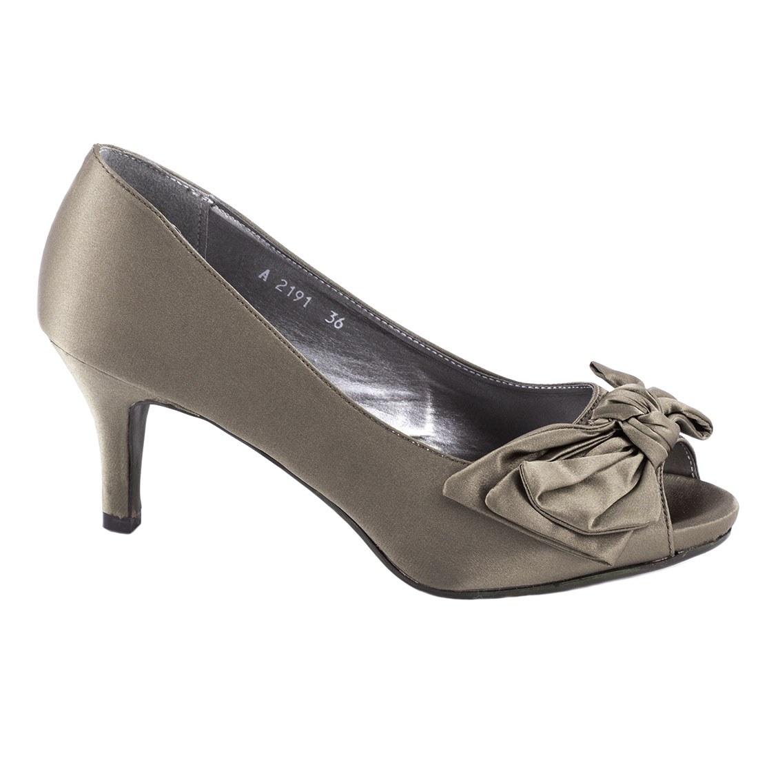 Pantofi de dama cu fundita A2191-KAKI-O