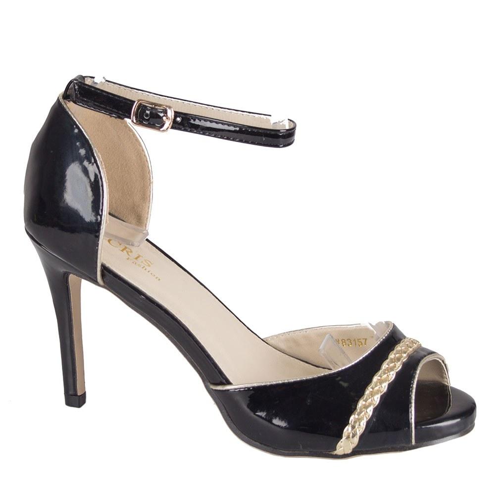 Sandale negre cu toc 83157-N-SS-LT.G-O