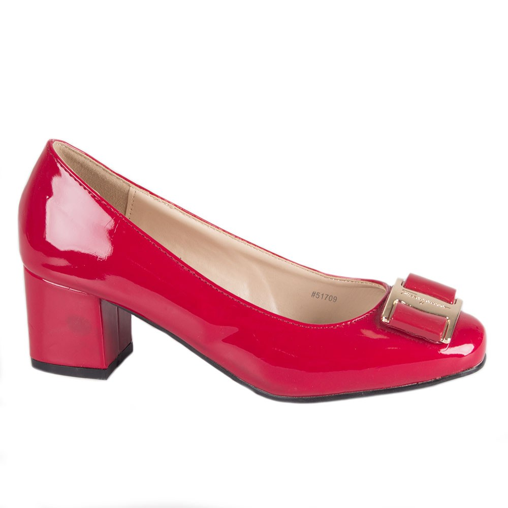 Pantofi dama rosii cu toc mic 51709-R-PT-O