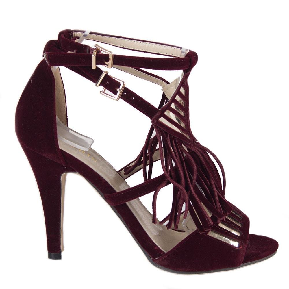 Sandale dama cu franjuri si toc inalt 83119-V-O