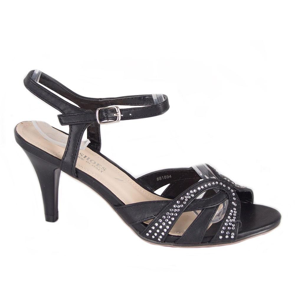 Sandale dama negre cu pietre aplicate 81894-N-P
