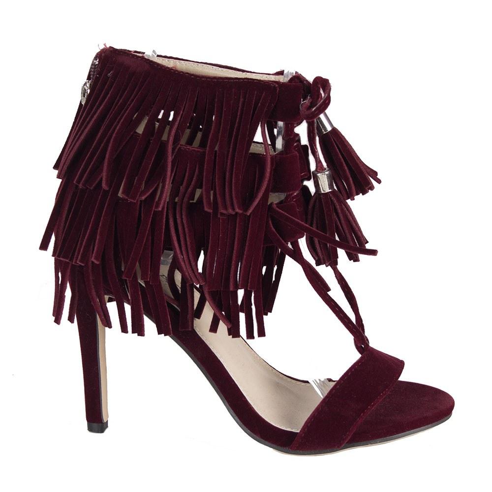 Sandale dama visinii cu siret si franjuri 83160-W-SS