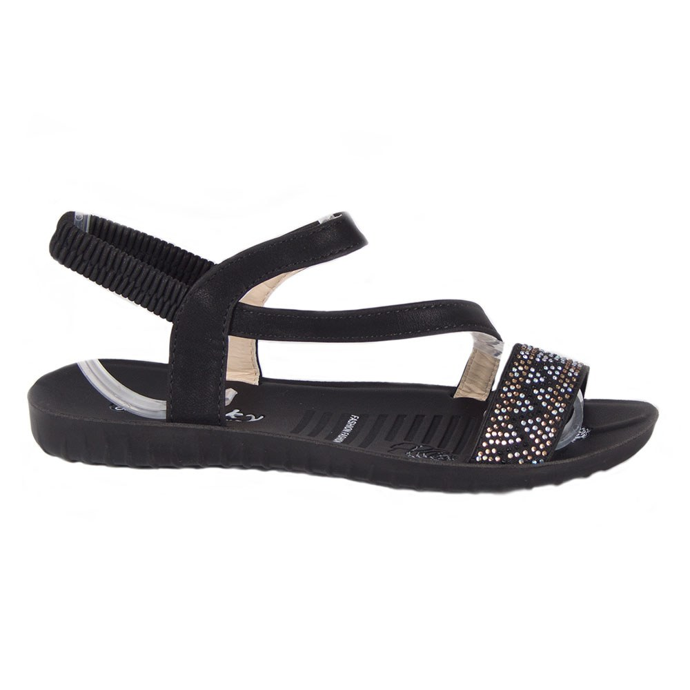 Sandale dama negre cu strasuri LU-01-N